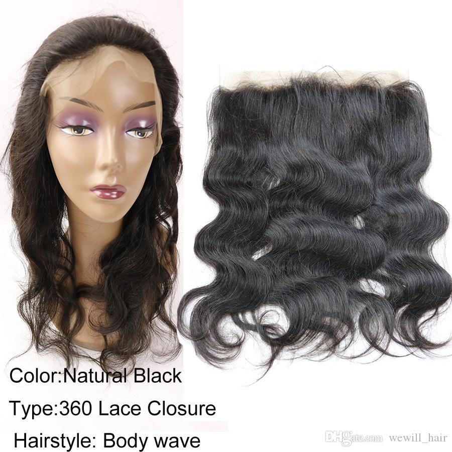 Wewill Hair Peruvian Brazilian Malaysian Indian Remy Human Hair Weaves Frontal Closure Body Wave 360 Lace Frontal Top Hair Weaves Closure