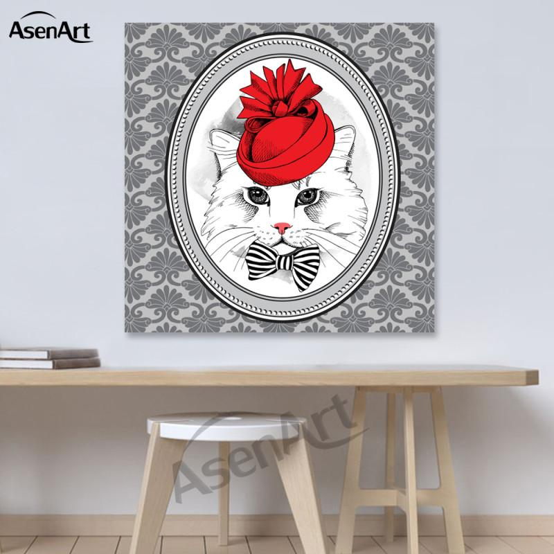 Art Wall Lovely Funny Cat Canvas Painting Mordern Prints Poster Picture for Kids Room Living Room Home Decorative
