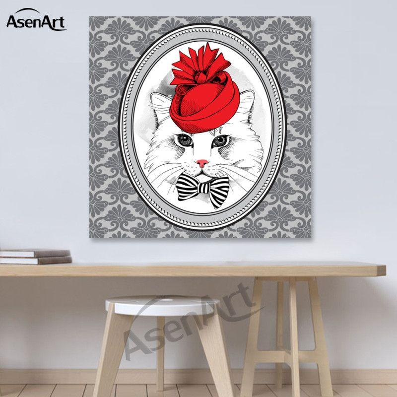 Mur d'Art Belle Drôle Chat Toile Peinture Mordern Prints Affiche Image pour Chambre D'enfant Salon Décoratif
