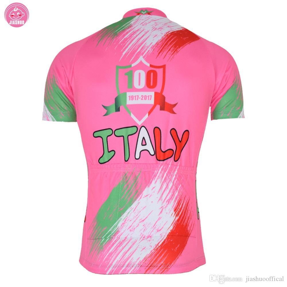 Personnalisé NOUVEAU 2017 ITALIE Italia 100 Ans Couleurs Classique JIASHUO vtt route RACING Team Vélo Pro Cyclisme Jersey / Chemises Tops Respirant