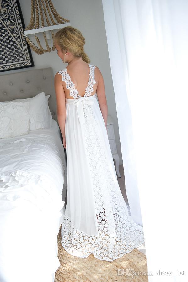 2019 recién llegado Boho vestido de niña de las flores para la boda Beach V cuello una línea de encaje y gasa niños vestidos de boda blancos por encargo