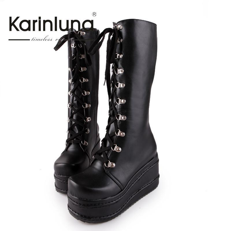 Women's Lace Up Zip Punk Style Platform Wedges Cosplay Party Boots