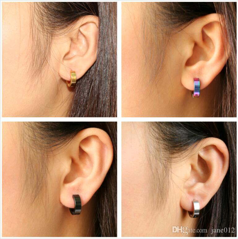 Fashion Asian Stainless Steel Ear Hook Pure Color Smooth Surface Unisex Hoop Stud Earrings for Men and Women Anti Allergy not fade