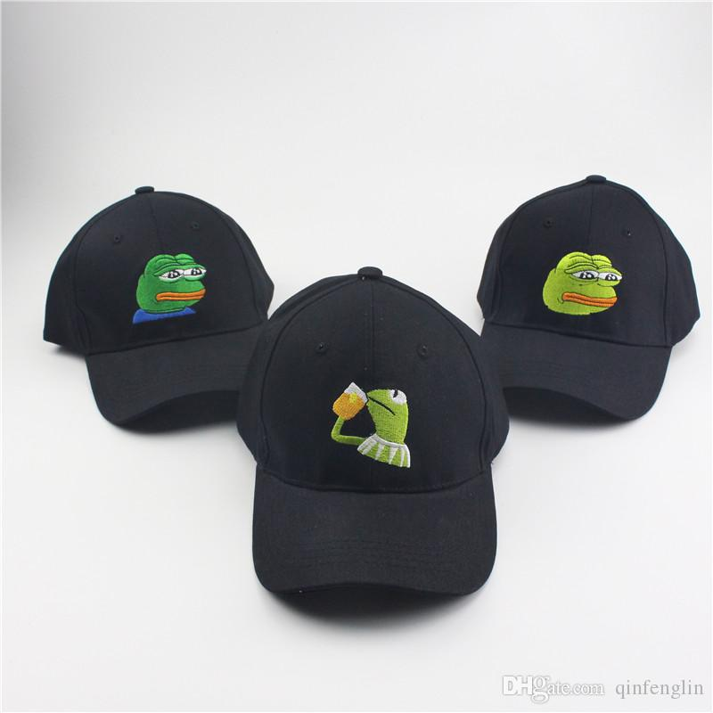75575c3c3a3 Sad Kermit Tea Cap Frog Pepe Feels Bad Man Embroidery Sun Shade Snapback  Hip Hop Baseball Cap The Sad Meme Frog Hat Caps Online Hats And Caps From  ...