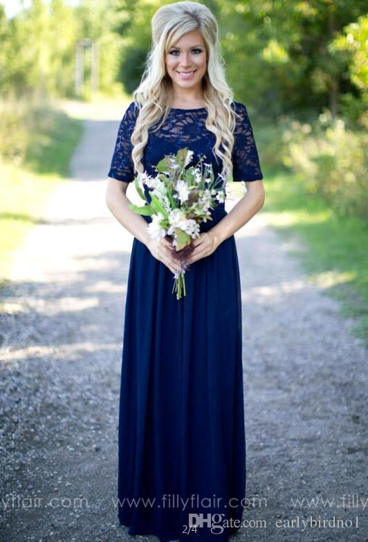 2018 Country Bridesmaid Dresses Long For Weddings Navy Blue Chiffon Short Sleeves Illusion Lace Beads Floor Length Maid Honor Gowns CPS572