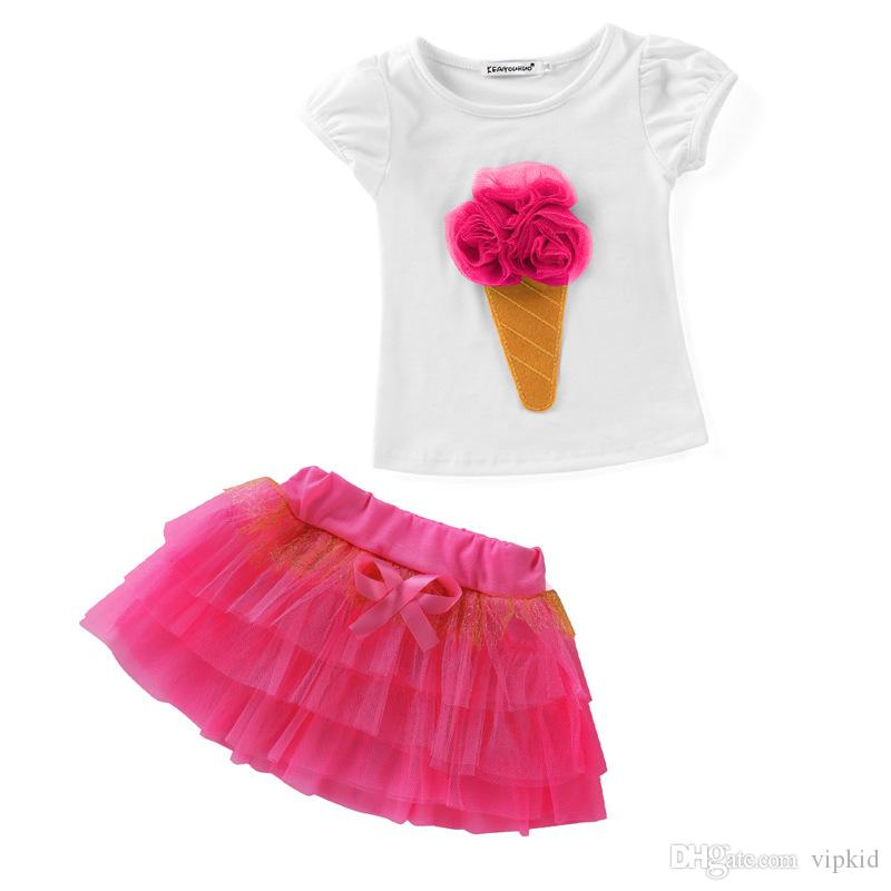 Ice cream New Summer Girls Two-piece Clothing Suits Kids Ice-cream Corn Short Sleeve White Cotton Tops T Shirt + tutu Skirt Children Outfits