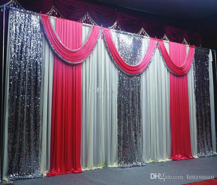 Pink Paillette Wedding Party Backdrop Curtain Swag Drape Wedding
