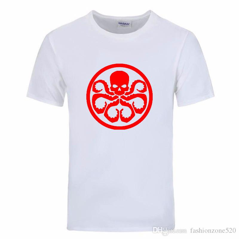 2017 new Short sleeve Avengers Captain America Red Skull Hydra Printed T Shirt Men Camisetas casual streetwear DIY-0110D