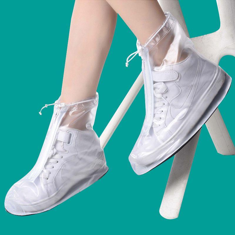9b8ae7a32d Waterproof PVC Reusable Rain Shoe Covers Anti-Slip Printed RainShoe Zipper  Rain Boot Overshoes Waterproof Wear Resistant Shoes Cover XL-357