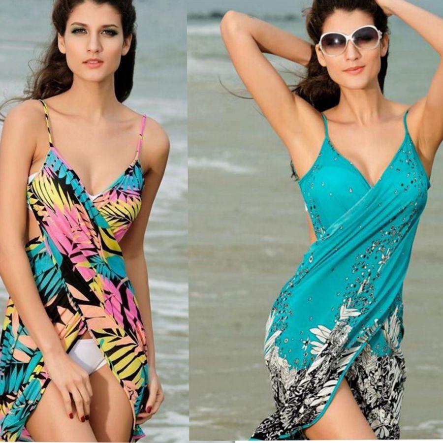 2fd6e63cece9f 2019 Bikini Swimwear Pareo Cover Up Sarong Beach Wrap Saida De Praia Women  Summer Beach Dress Cover Up Bikini Wrap Negril Floral Sarong KKA1583 From  ...