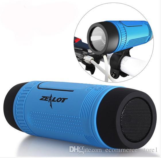 질럿 S1 블루투스 스피커 무선 스마트 폰 PC 사이클링 야외 스포츠를위한 힘 은행 LED 플래시 라이트 휴대용 방수 서브 우퍼
