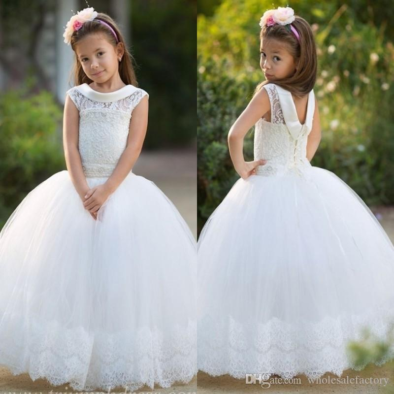 59dba38145f 2017 Little White Cute Flower Girl Dresses Lace Appliques Jewel Neck Cap  Sleeves Corset Back Tulle Long Kids Formal Wear Gowns For Christmas Little  Girl ...
