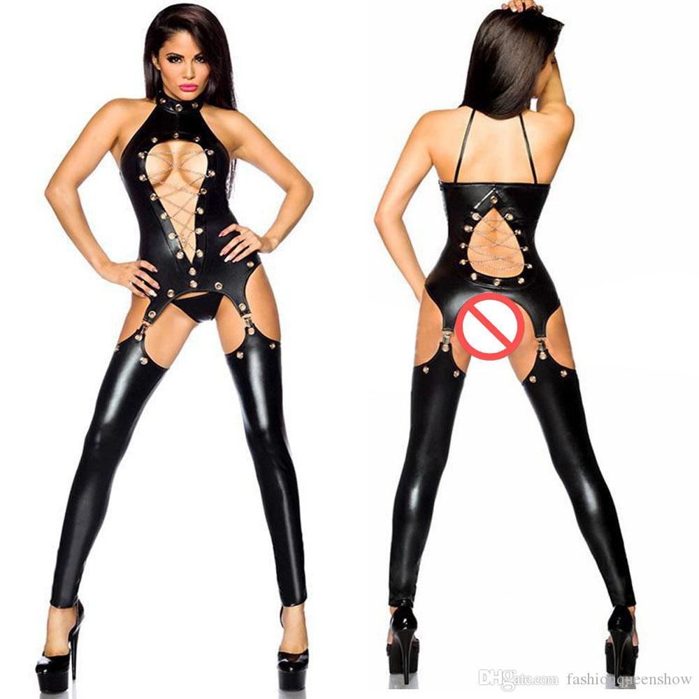 0f481d5e8f 2019 Black Sexy Hollow Out Bodystockings Metal Chain Lingerie Skinny Bodysuit  Women Clubwear Faux Leather Crotchless Teddies From Fashionqueenshow