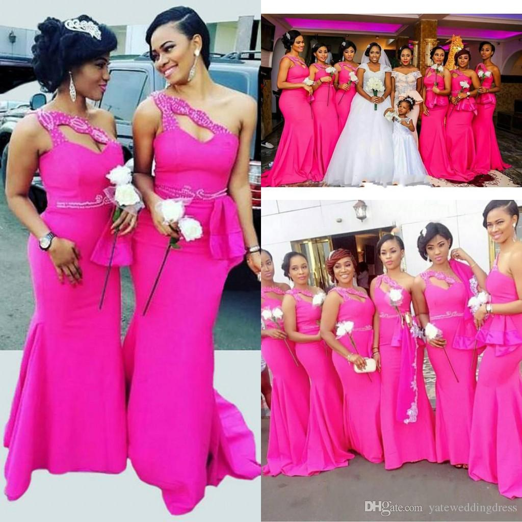 Bright Fuchsia Long Mermaid Bridesmaid Dresses One Shoulder ...