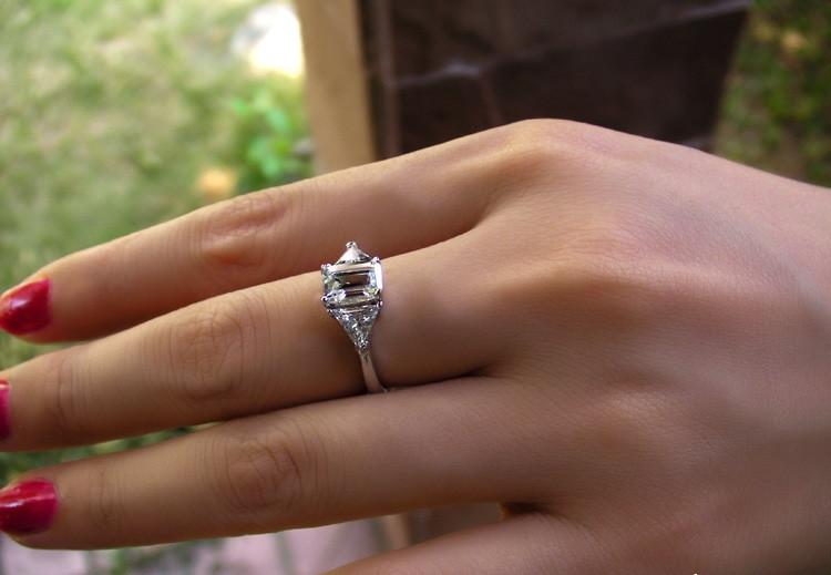 3 ct Emerald Cut Pretty Designer SONA Synthetic Diamond Ring Engagement Jewelry For Women Sterling Silver 18K White Gold Finish