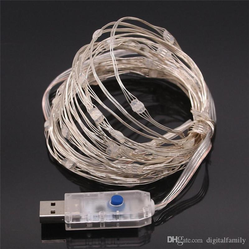 Luces de cadena de hadas del cobre LED del USB 5V con el telecontrol 5m 10m boda de la fiesta de Navidad Decoración al aire libre Luz de hadas