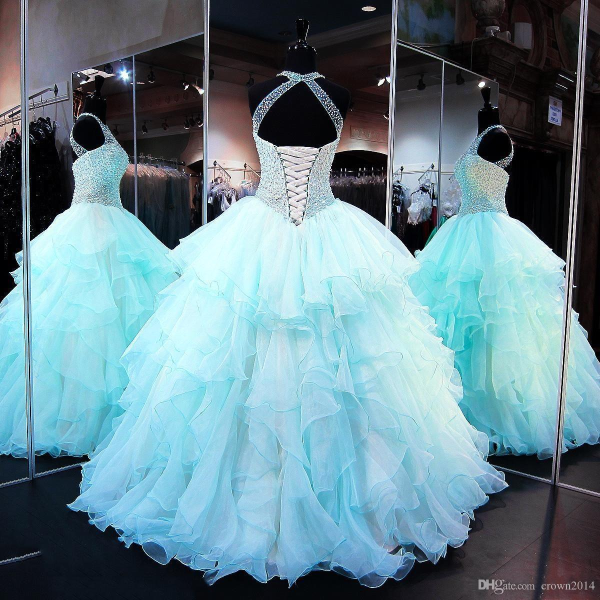 Ruffled Organza Skirt Quinceanera Dresses 2019 with Pearl Beaded Bodice Sheer High Neck Lace up Backless Light Sky Blue Prom Puffy Ball Gown