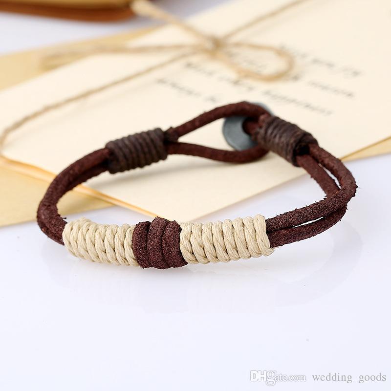 Livraison gratuite Vintage Knit Blonde Couple Bracelet En Cuir Bracelet FB393 ordre de mélange 20 pièces beaucoup Slap Snap Bracelets