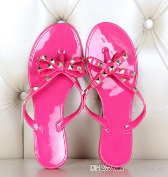 2017 fashion women gladiator sandals casual style Flip Flops spike stud sandals hot pink color beach shoes ladies