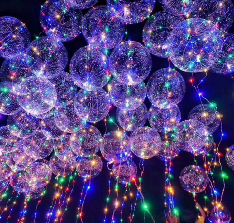 Newest Light Up Toys LED String Lights Flasher Lighting Balloon wave Ball 18inch Helium Balloons Christmas Halloween Decoration Toys