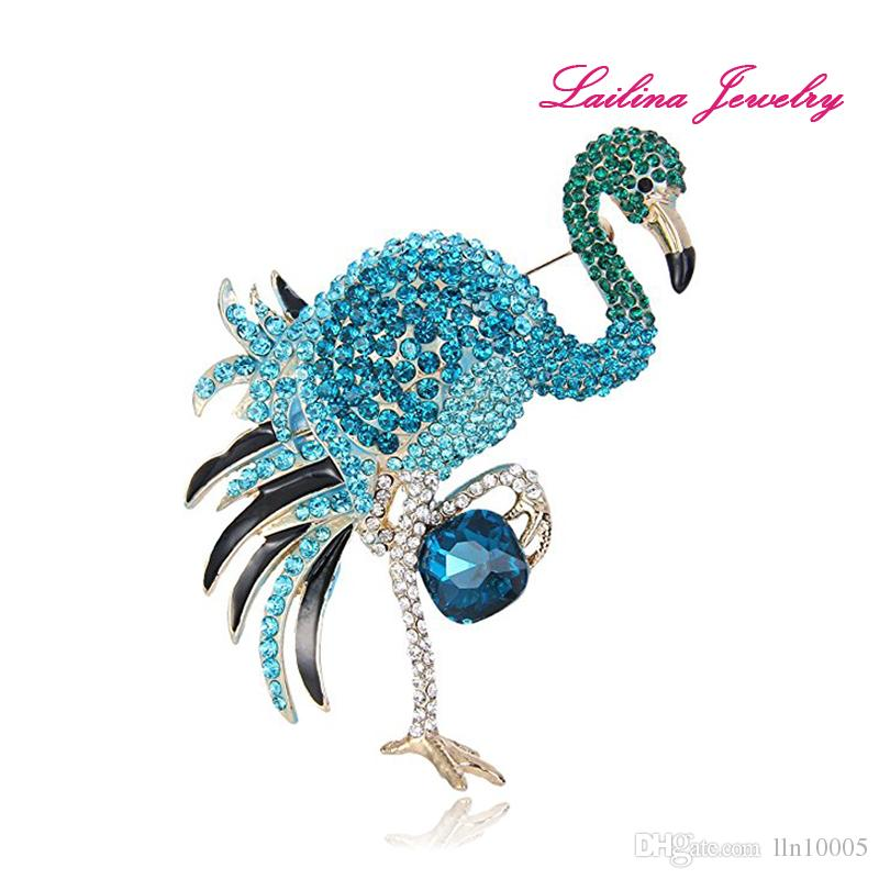 100 unids / lote Cristal Esmalte de la Mujer Flamingo Broches de Oro Tono Multicolor Rhinestone Flamingo Bird Animal Alloy Broches