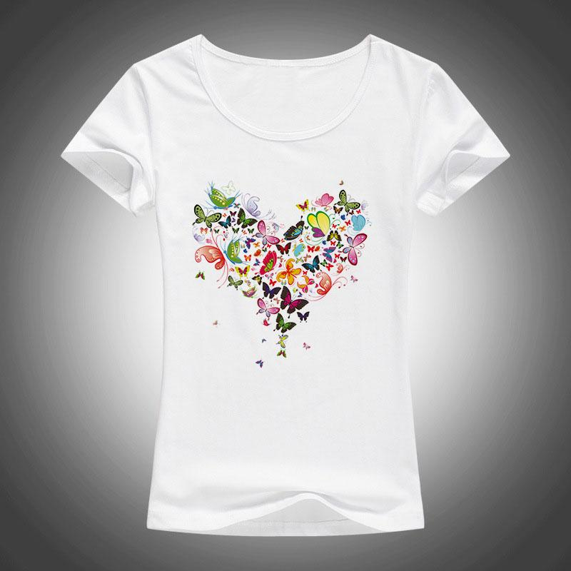Wholesale 2017 Summer Heart Shape Colorful Butterfly T Shirt Women ...