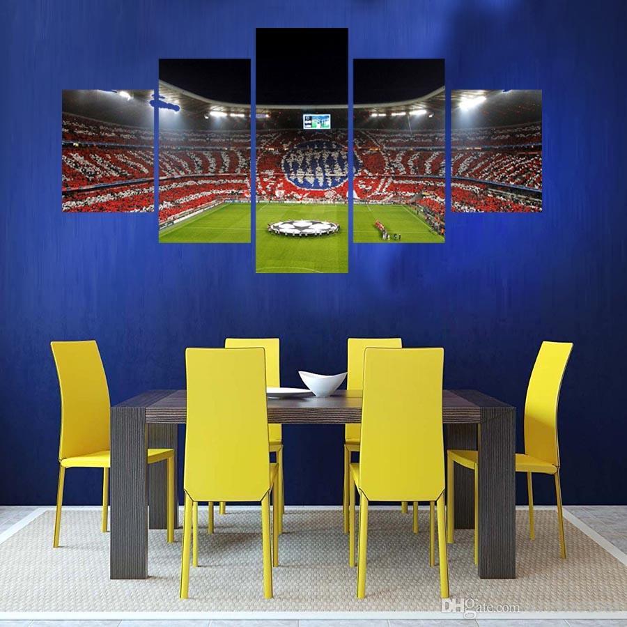 5 Panel Futbol Oyun Alanı Dünya Kupası Resim Sergisi Oturma Odası Futbol Fan Resimleri Ev Dekor Duvar Sanat Tuval Poster Ve Baskılar