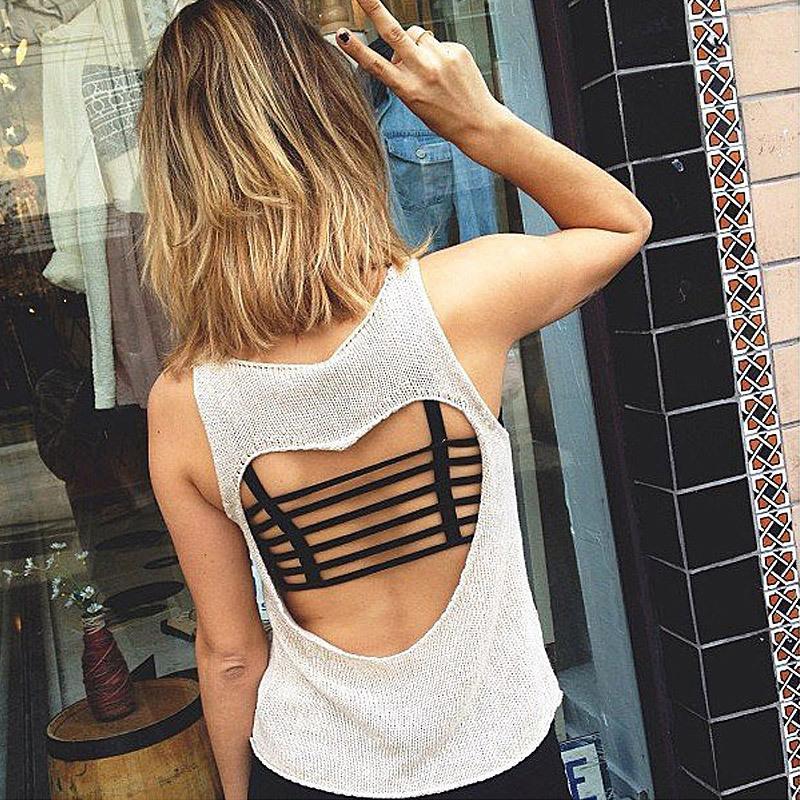 a4143cf4b17 2019 Women Sexy Padded Bra Crop Tops Bustier Vest Cut Out Shirt Black White  Summer Beach Tank Tops 2018 From Jerry2
