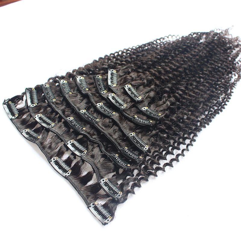 Menschliches Haar verworrenes gelocktes Jungfrau-Haar-Klipp-Ins für schwarze Frauen-Afroamerikaner-Klipp in den malaysischen Menschenhaar-Erweiterungen Klipp an