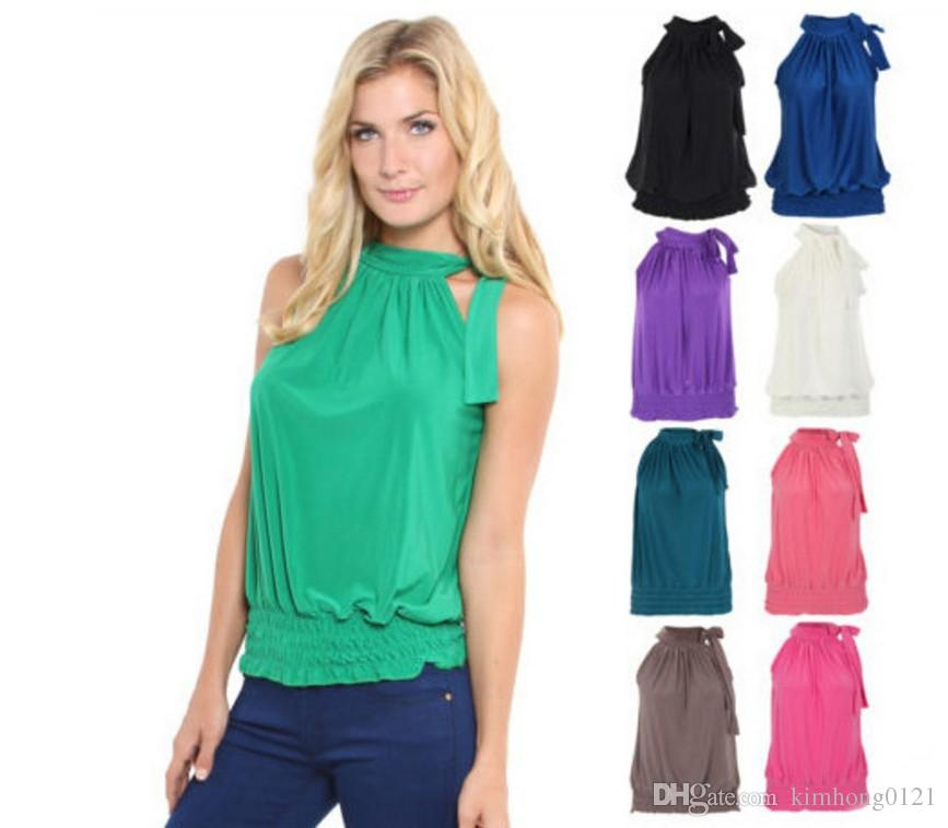 0791e7791ed457 2019 2017 New Arrival Fashion Summer Casual Women Off Shoulder Ruffled  Sleeveless Gallus Tops T Shirt Blouse Tee Plus Size From Kimhong0121
