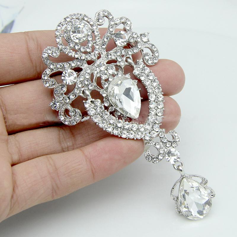 LNRRABC Women's Brooches Rhinestones Crystal Crown Large Flower Bridal Brooch Pin Wedding Fashion Jewelry Decoration broches