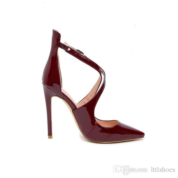 2017 New Cross Straps High Heeled Dress Sandal Women Patent Leather Pumps Sexy Burgundy Stiletto Ladies Summer and Spring Shoes Big Size