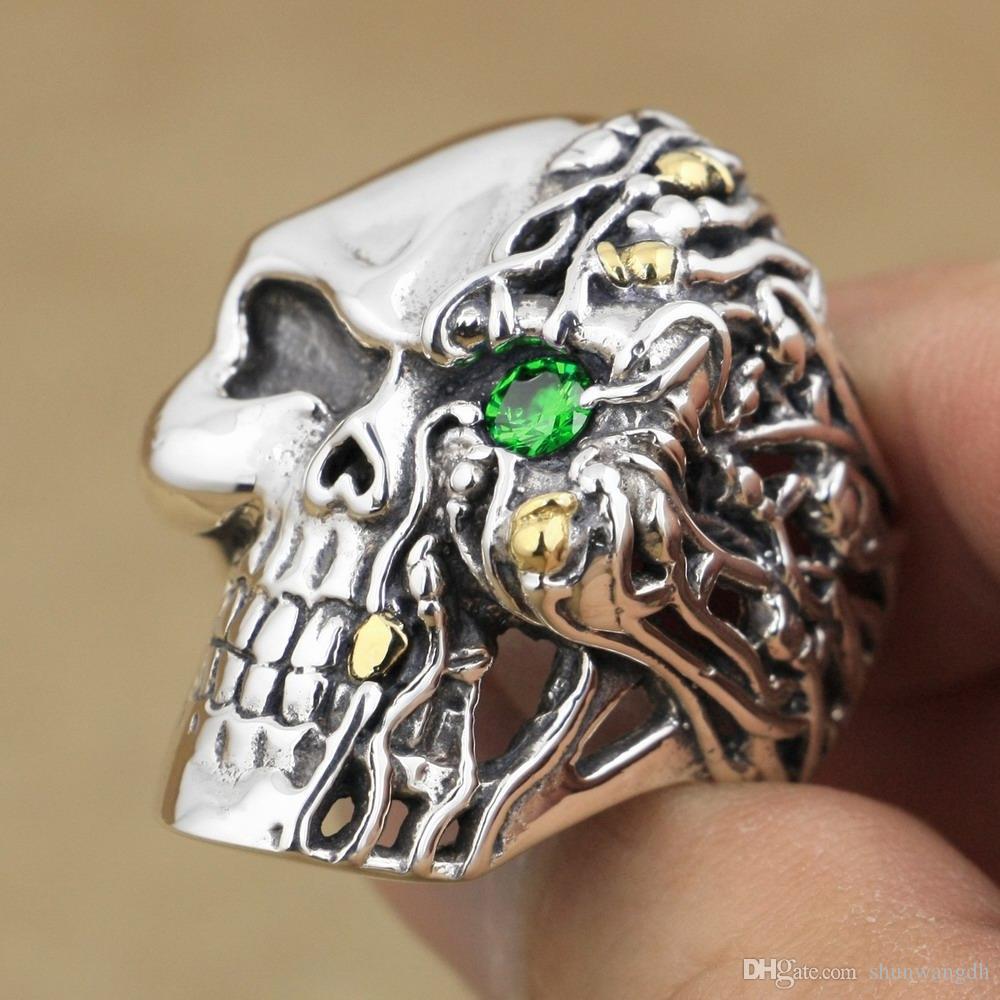 LINSION Green CZ Eye 925 Sterling Silver Skull Ring Mens Biker Rocker Punk Style 8V306 US Size 7~15