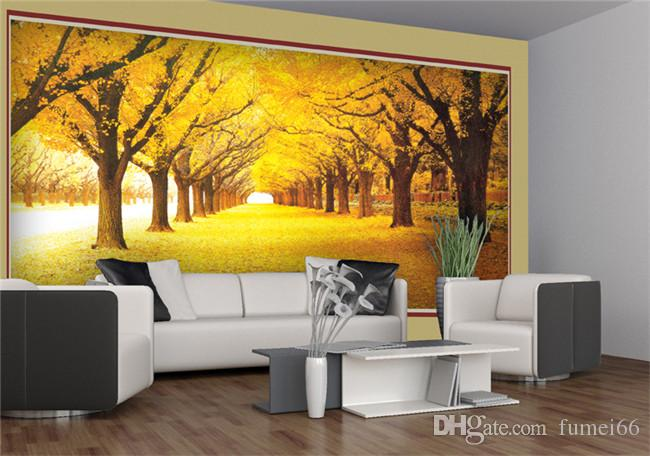 Custom 3D Wall Mural Wallpaper Landscape Paisaje de otoño natural Yellow Forests Load Covered Leaves Papel de pared para sala de estar