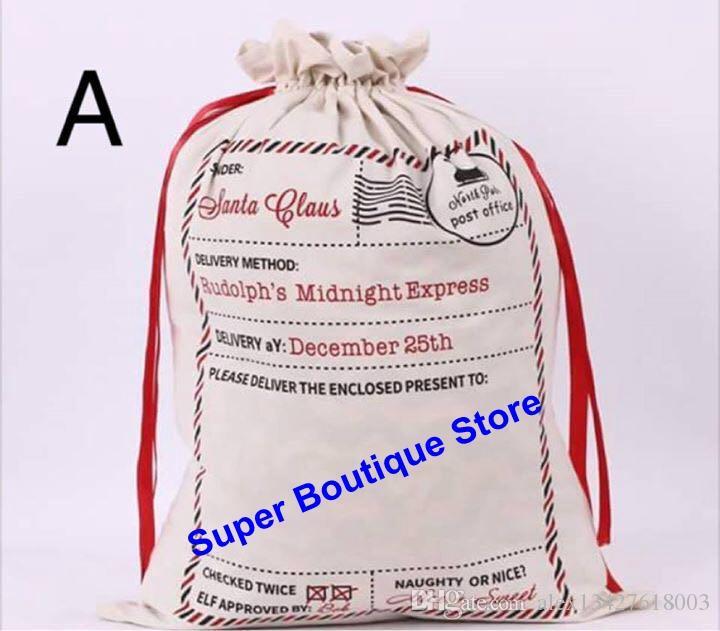 2 styles striped envelop hot selling good quality canvas santa sack Christmas drawstring gift bags cute X-mas gift santa sack 50*70cm