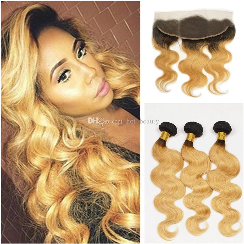 Discount 9a Two Tone Human Hair Honey Blonde Hair Weave With 134