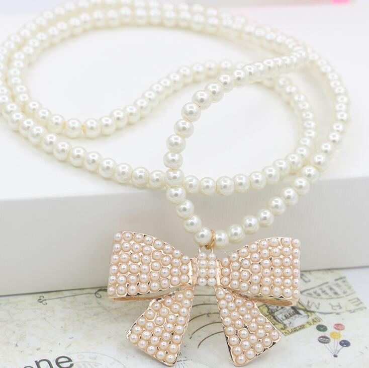 Perla Collana Cristallo Love Heart Bow Bnot Lucky Clover Flower Pendant Collane Luxury Women Bride Wedding Party Jewelry
