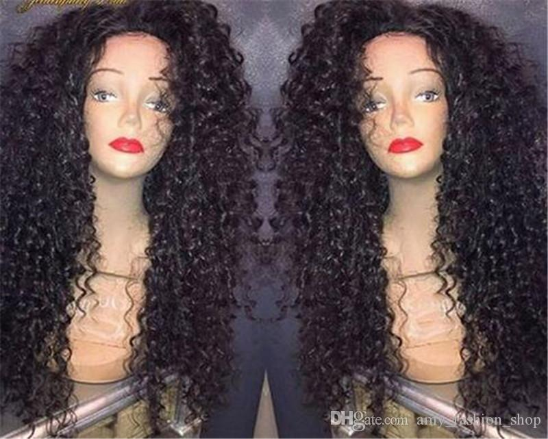 180% High Density Curly Glueless Full Lace Front Wigs Brazilian Hair With Baby Hair Curly Human Hair Lace Front Wigs Black Women