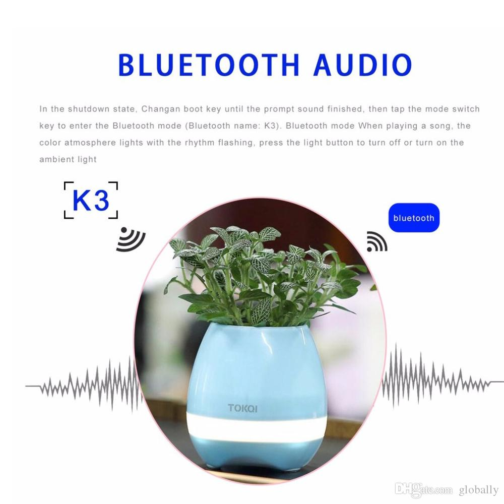 ABS Smart Music Flower Pots Altavoz Bluetooth Play The Piano Decoration Plantador Noche Light Touch Sensores Drop Shipping