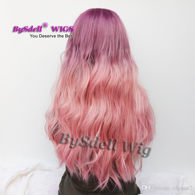Beauty Ombre Two Tone Colore Synthetic Grape Viola Ombre Pink Purple Color Parrucca Long Wavy Lace Front / Full Lace Full Hand Tied Wig