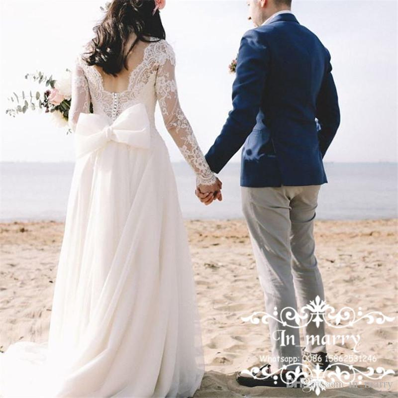 Discount Modest Plus Size Country Beach Wedding Dresses Cheap 2017 A Line Vintage Lace Long Sleeves Bow Back Tulle Greek Style Bridal Gowns