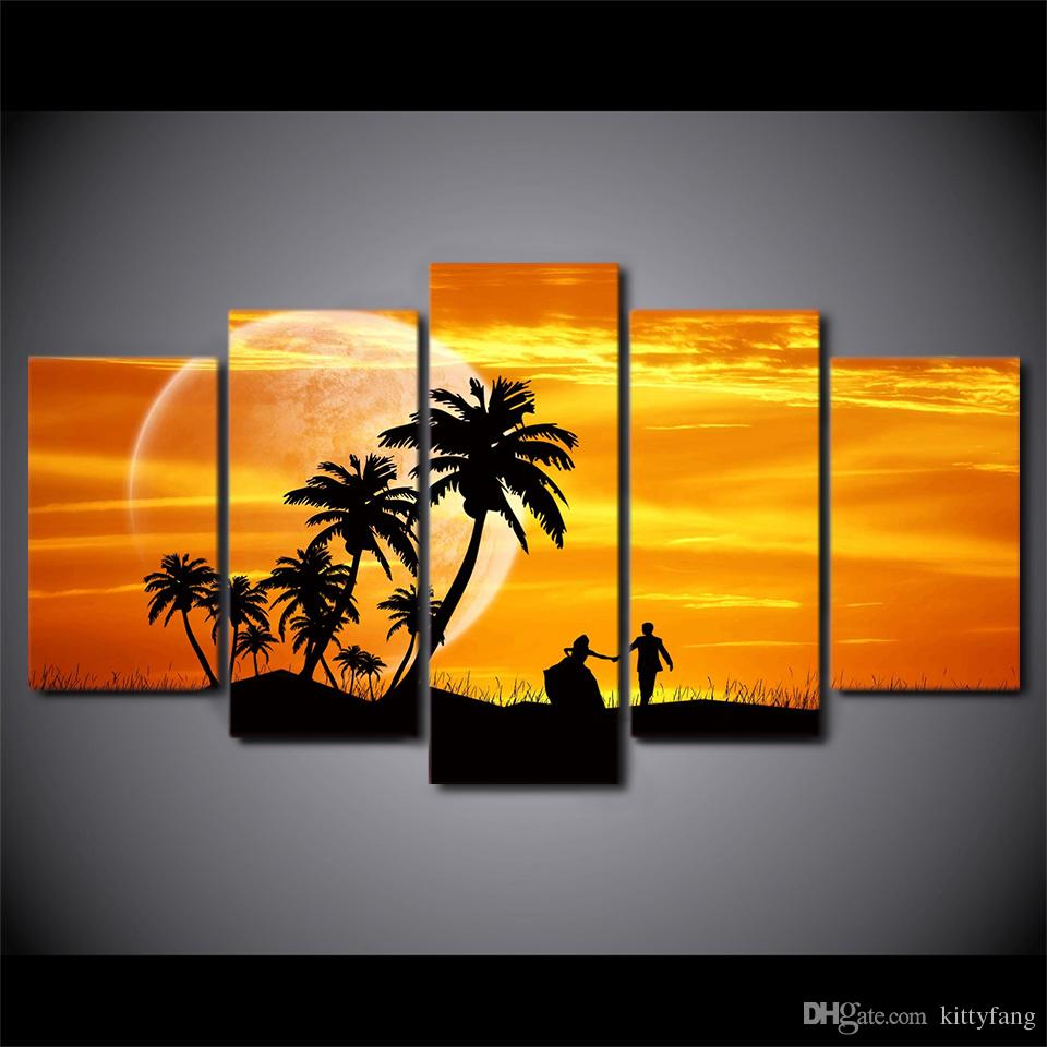 HD Printed Canvas Art Sunset Couple Coconut Tree Moon Dusk Painting ...