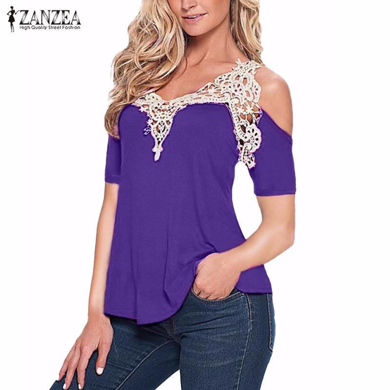 Hot Fashion 2018 Women Blouses Cotton Patchwork Crochet Lace Shirts Casual Off Shoulder Short Sleeve Tops Plus Size S-5XL