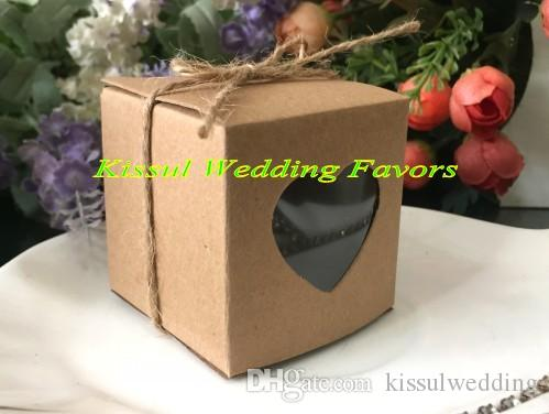 Wedding and Party Gift box of Kraft Paper Love heart Favor box with PVC window For Wedding favors candy box