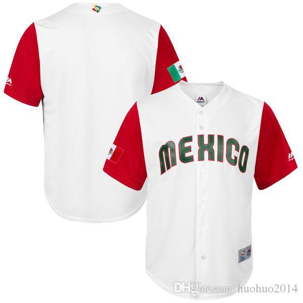 Erkekler Meksika 2017 Dünya Beyzbol Klasik Takım Formaları 23 Adrian Gonzalez Beyaz% 100% Stiched Nakış Logolar Özelleştirilmiş Serin Taban