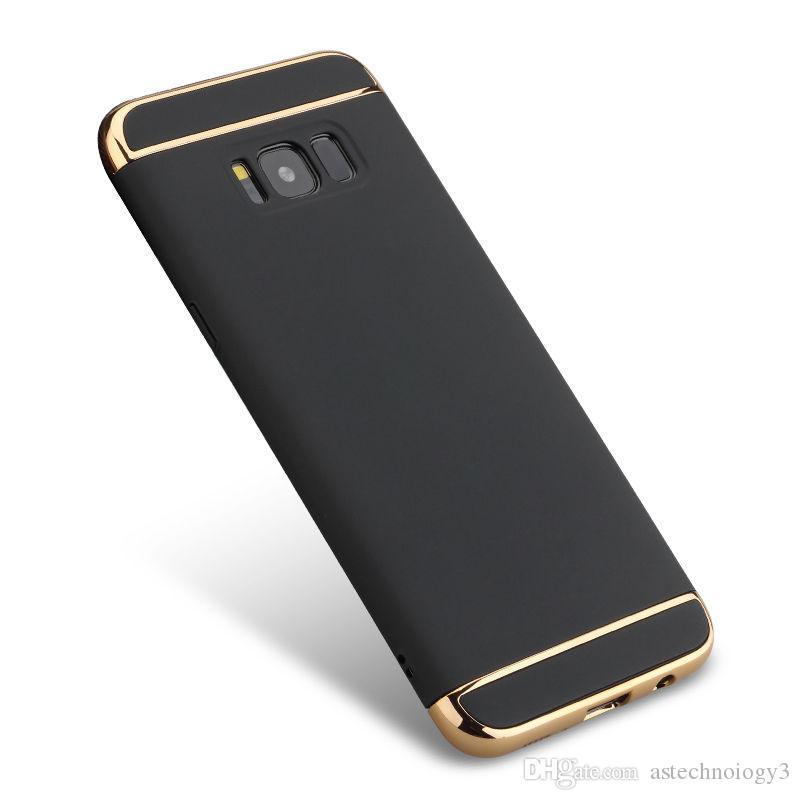 Para samsung galaxy S8 S7 casos de borda 3 em 1 luxo híbrido de metal galvanização caixas de telefone celular por atacado para note8 s7 s6edge