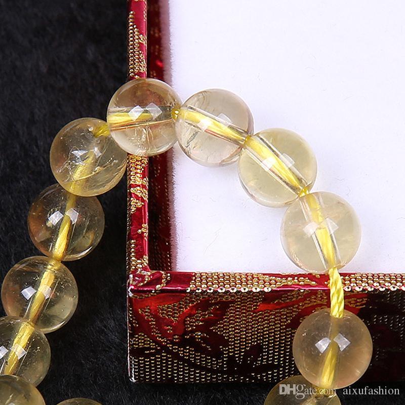Natürliche Citrine Perlen 6/8 / 10mm Runde gelbe Kristall Quarz Stein lose Perlen für DIY Schmuck Armband Erkenntnisse Handwerk machen