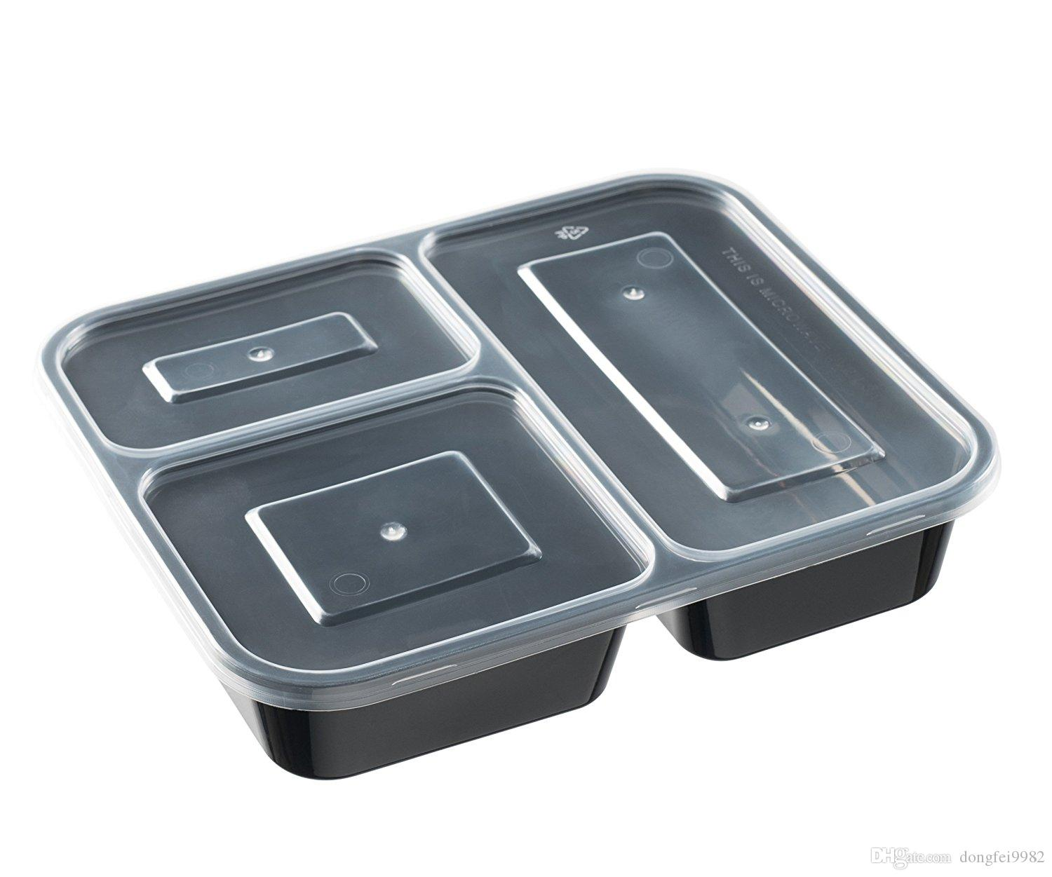 3 Compartment Meal Prep Food Storage Containers 10 Pack With Lids