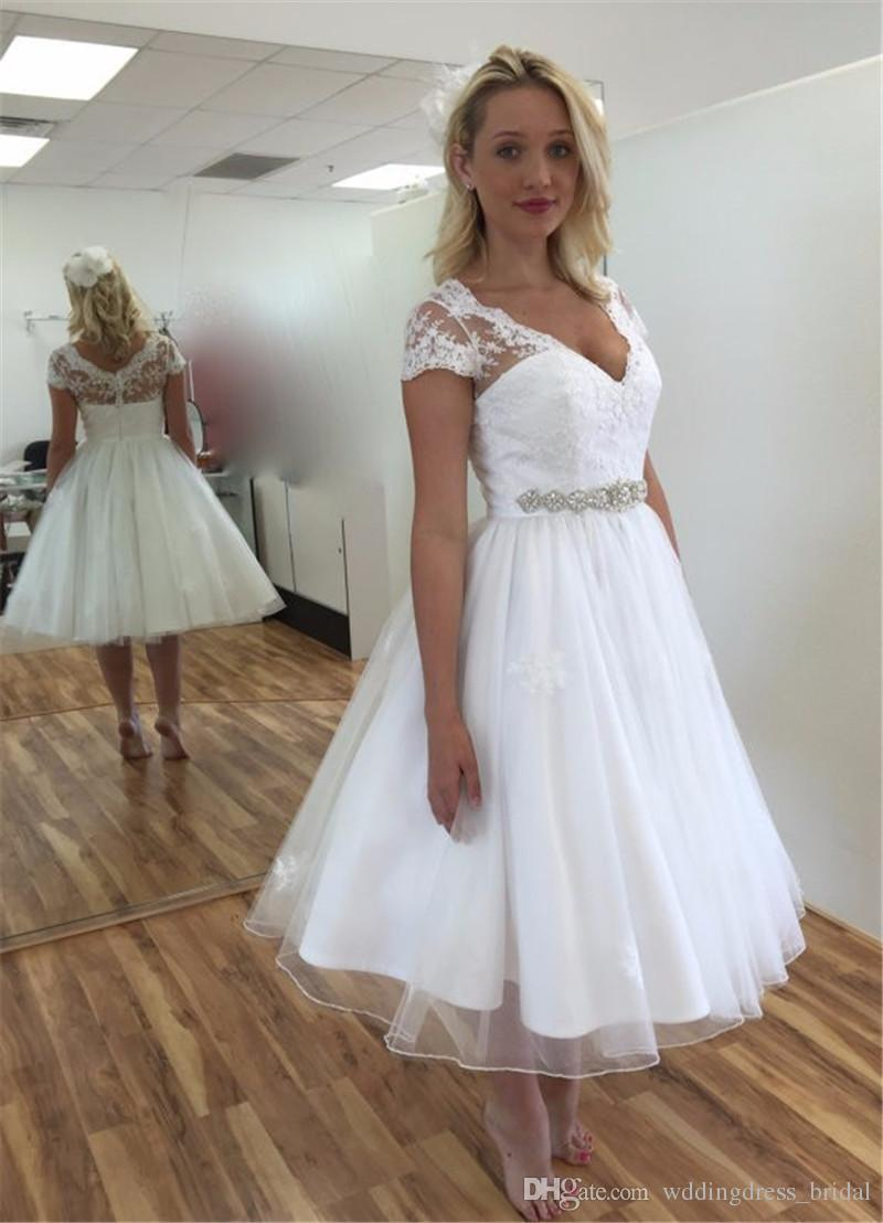 Discount Tea Length Wedding Dresses Vintage Vestido De Novia