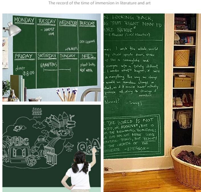 45x200cm PVC-Brett Wandaufkleber Aufkleber Vinyl Abnehmbarer DIY White Black Green Board Aufkleber Für Kinder mit Kleinverpackungen